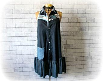 Women's Shirt Dress Navy Blue Summer Boho Dress A-Line Sundress Up Cycled Clothes Bohemian Hippie Shabby Country Dress Loose Fit L 'LARISSA'
