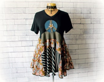 70's Peace Sign Hippie Clothing Black Upcycled T-Shirt Boho Women's Wear Funky Festival Shirt Layer Draped Top Lagenlook Clothes M L 'SIENNA