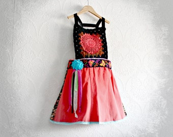 Coral Boho Jumper Girl's Upcycled Overall Dress Crochet Bib Colorful Clothing Toddler Size 4T Festival Clothes Gypsy Style Eco Wear 'WREN'