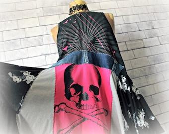 Women's Grunge Shirt Hot Pink Skull Clothing Reconstruct Clothes Upcycled Plus Size High Neck Tank Black Boho Tunic Long Shirt 1X 'SUZANNA'