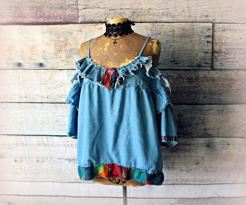 38b58f16e8936 Frayed Denim Top Cold Shoulder Blouse Tribal Clothing Blue