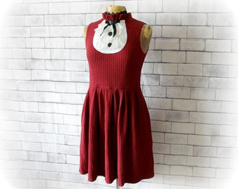 Fit And Flare Dress Stretch Jersey Dress Black Bow Lace Ruffle Bib High Neck 50's 60's Short Dress Burgundy Maroon Party Dress S M 'KELLIE'