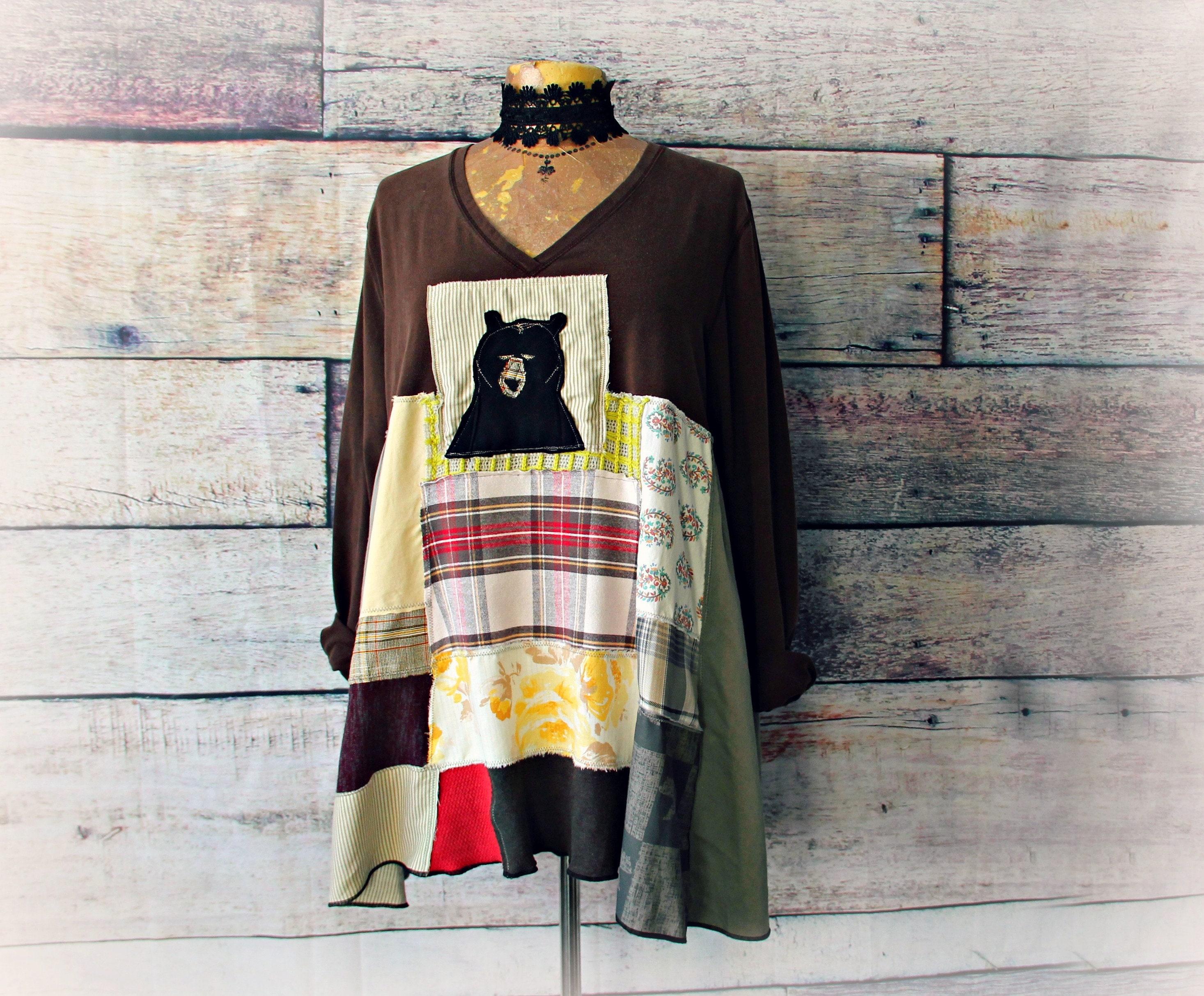 178a500e508e Country Patchwork Women s Bear Shirt Loose Tunic Top Plus
