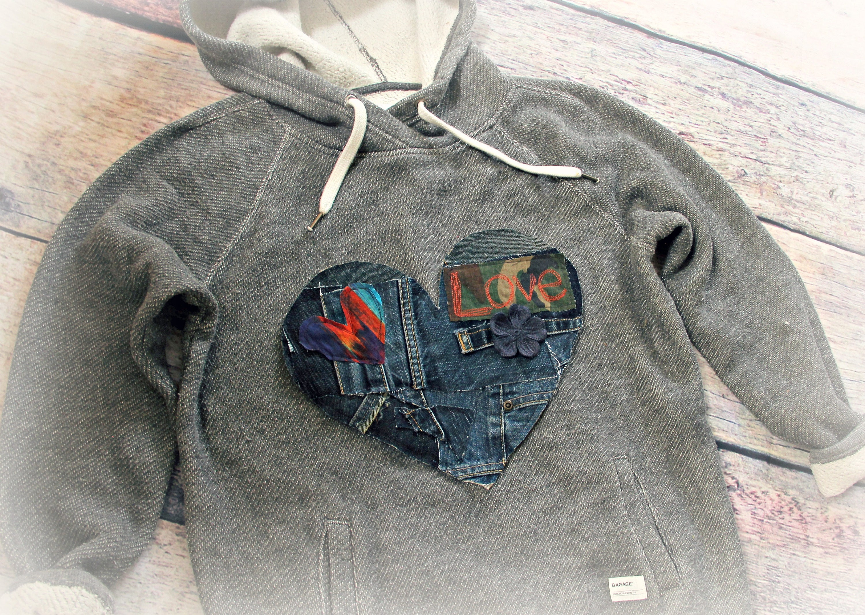 Patchwork heart for clothing denim applique diy clothes hippie etsy