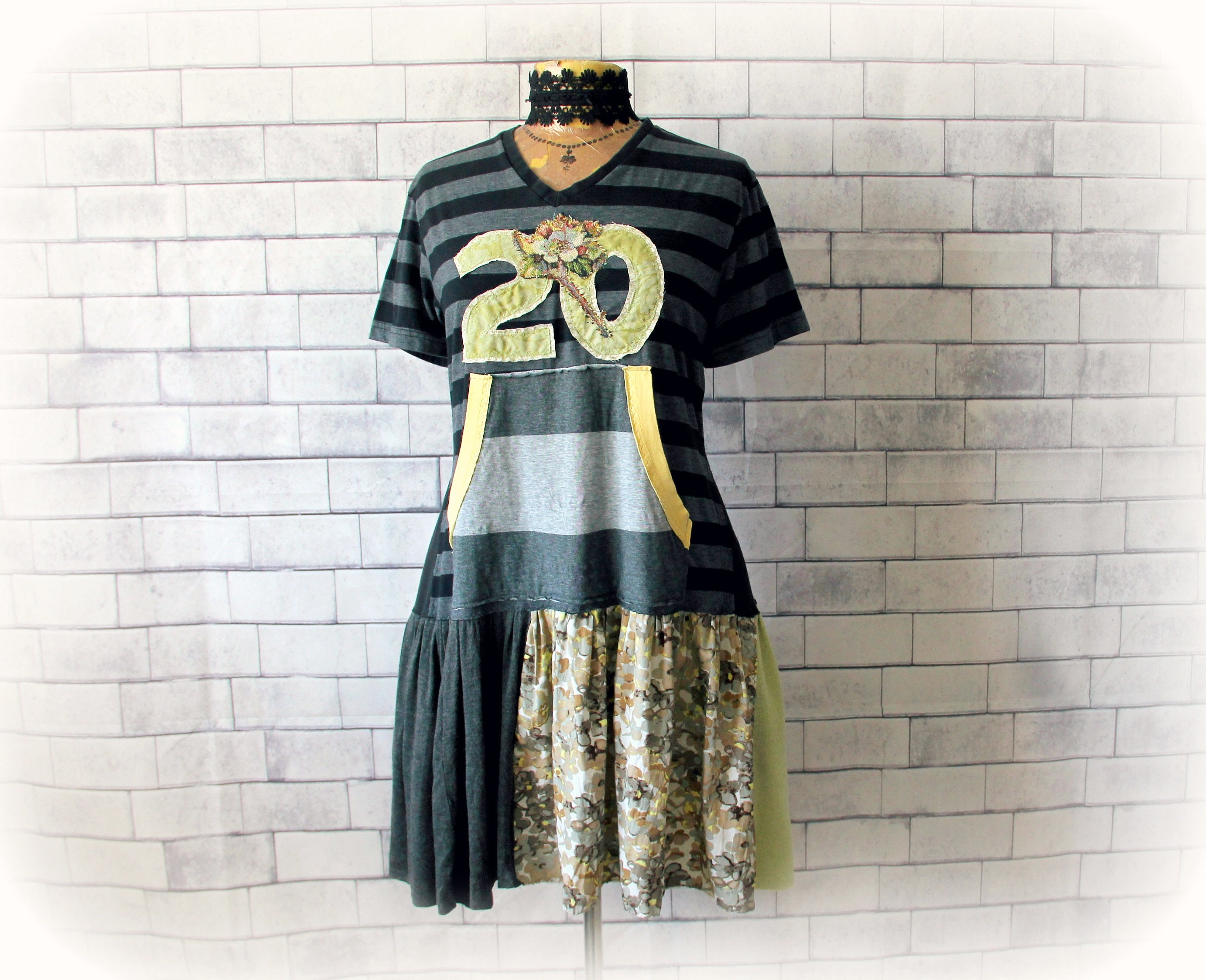 79a75fc22323 Black Sporty Dress Number 20 Stripe T-Shirt Dress Recycle Eco