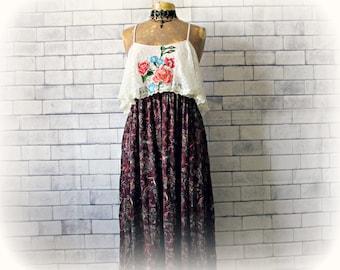 Lace Ruffle Dress Embroider Flowers Long Maxi Sundress Upcycled Clothing Spaghetti Strap Boho Clothes Romantic Dress Retro 70's M L 'BLYTHE'