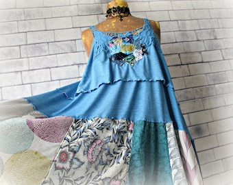 Patchwork Dress Romantic Clothes Shabby Chic Sundress Upcycled Clothing Country Rustic Blue Boho Dress Layers Tiers Mori Girl L 'CALIOPE'