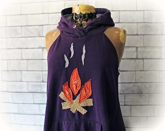 Purple Hoodie Top Eco Friendly Clothing Plus Size Campfire Shirt Upcycled Clothes Boho Ruffle Top Fun Fashion Layering Shirt XL 1X 'NADINE'