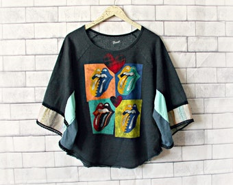 Rock N' Roll Upcycled Clothing Concert Shirt Tongue Lips Music Festival Top Boho Sweatshirt Womens Colorful Top Recycled Altered M L 'RORRIE