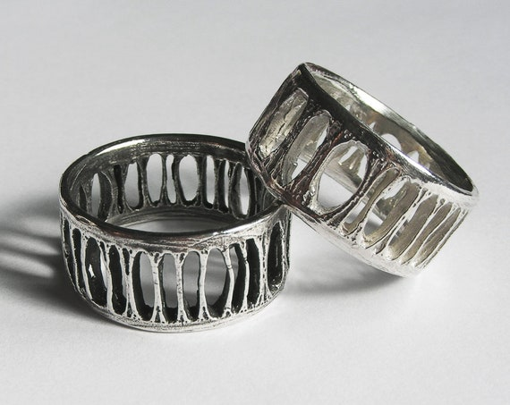 Silver Shark Vertebra Ring - Extra Wide Ladder
