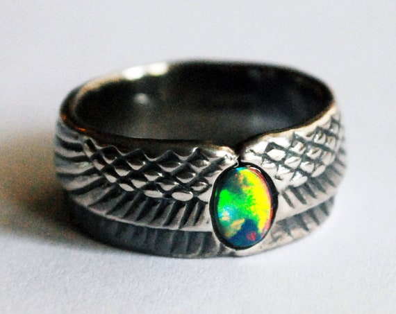 Sterling Silver and Rainbow Opal Winged Egg Ring_Ready to Ship