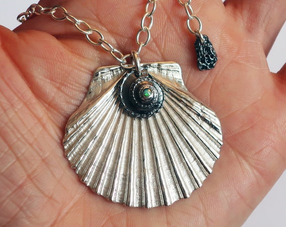 Sterling Silver and Opal Aphrodite Scallop Shell Necklace-Ready to Ship