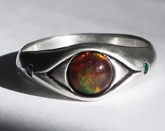 Sterling Silver, Black Opal and Green Spinel Eye Ring_Ready to Ship