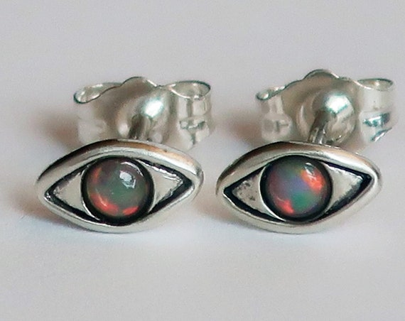 Solid Sterling Silver with Opal - Evil Eye Stud Earrings
