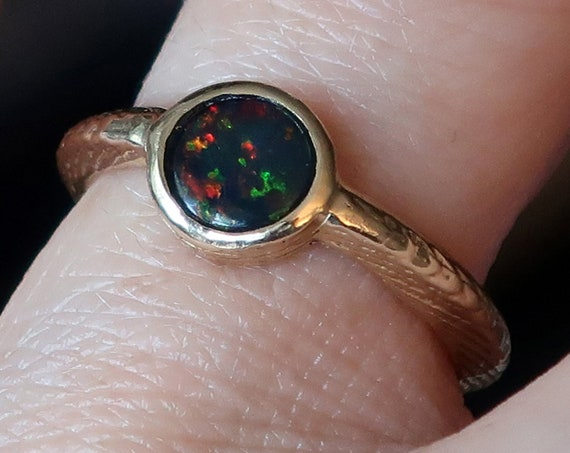 Solid Yellow Gold Cuttlefish Cast and Black Opal Solitaire Ring-Ready to Ship