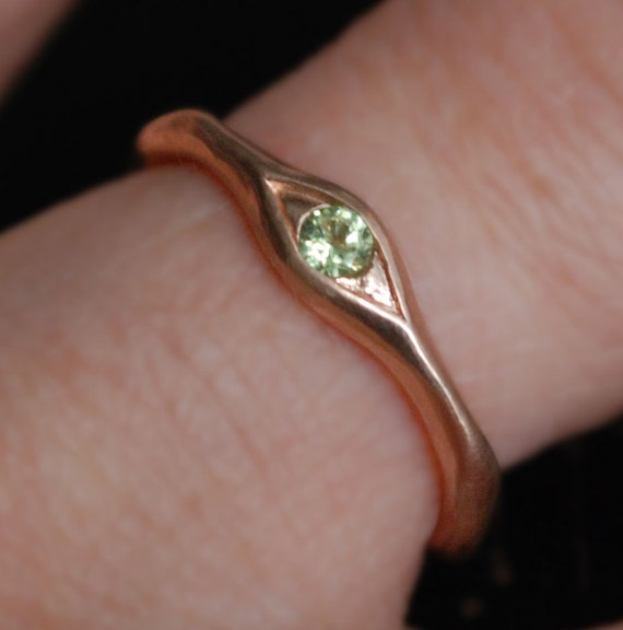 10k Rose Gold and Peridot Eye Ring, Size 5-Ready to Ship