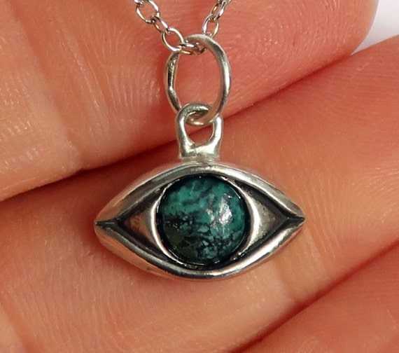 Large Sterling Silver Tibetan Turquoise Eye Charm-Ready to ship.