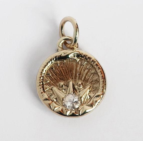 Yellow Gold and White Sapphire Ouroboros Snake, Antique Parisian Button Charm-Ready to Ship