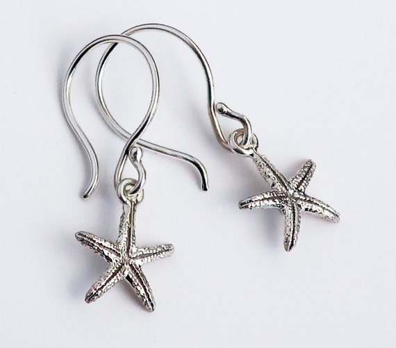 Little Sterling Silver Dangly Starfish Earrings-Ready to Ship