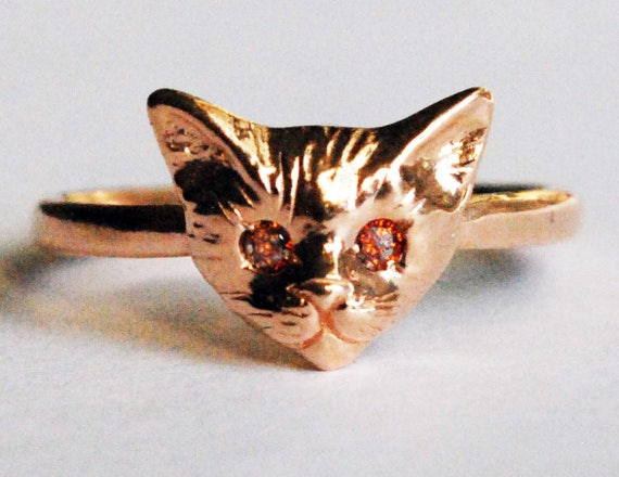 Rose Gold Kitty Cat Ring with Red Cognac Diamond Eyes-US Size 7 3/4-Ready to ship!