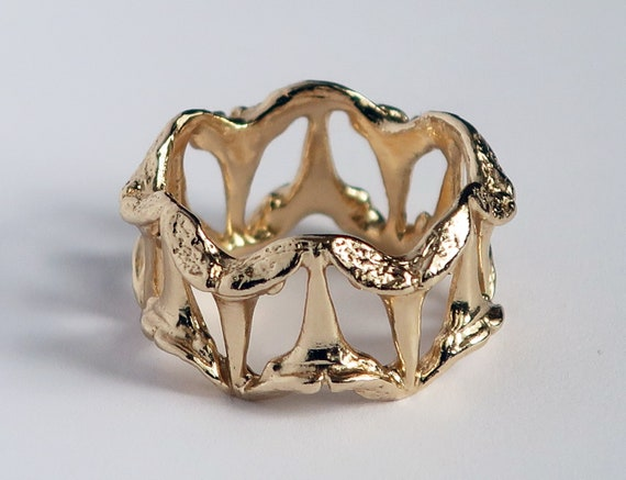 Gold Small Shark Tooth Pattern Ring-Ready to Ship