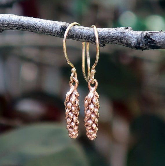 Tiny Rose Gold California Norfolk Pine Earrings-Ready To Ship