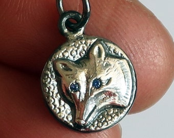 Grey Sterling Silver Jeweled Wolf Charm Necklace-lavender sapphire eyes-Ready to Ship