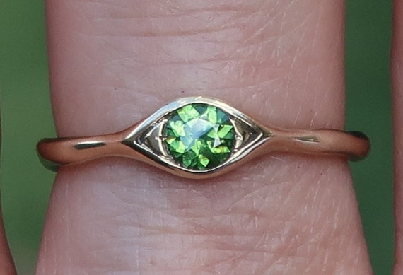10k Yellow Gold and blue green Tourmaline Eye Ring-Ready to Ship, US size 6.25