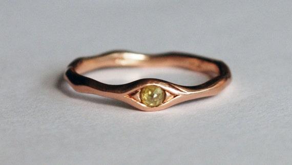 10k Rose Gold and Yellow Diamond Eye Ring
