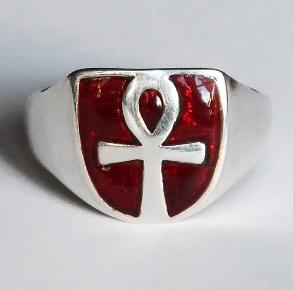 Sterling Silver and Red Enameled Ankh Ring, Limited Edition-3 of 3, Ready to Ship, US Size 10.5