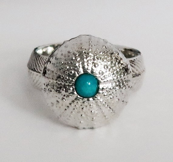 Sterling Silver and Turquoise Large Cushion Sea Urchin Ring, size 7.75-Ready to Ship