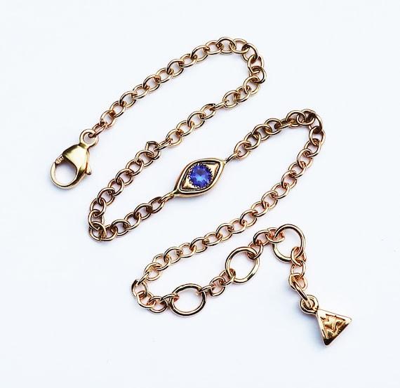 10k Yellow Gold and Blue Sapphire Evil Eye Bracelet-Medium width Chain-Ready to Ship