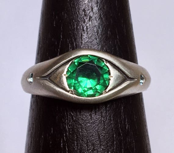 Sterling Silver, Green Spinel and Blue Zircon Eye Ring, Size 7-Ready to Ship