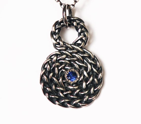 Sterling Silver and Blue Sapphire Infinity Spiral Pendant-Ready to Ship