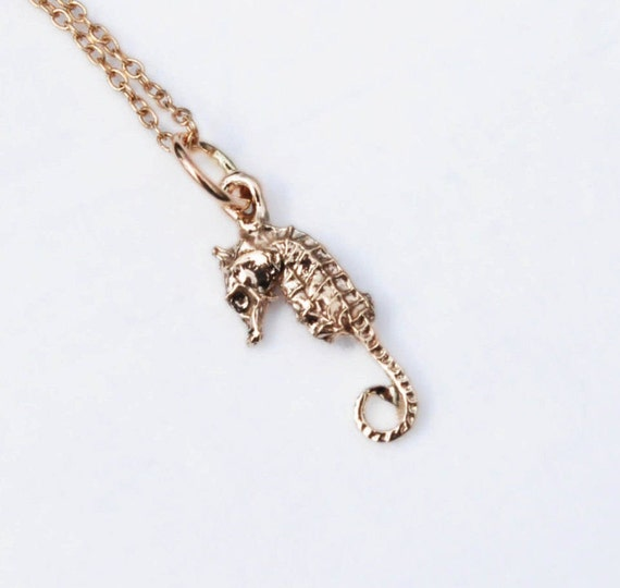 Tiny Solid Gold Seahorse Necklace-Ready To Ship