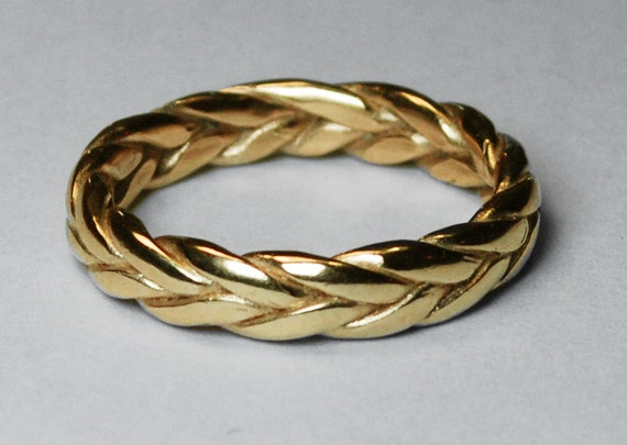 Large 5mm Wide, Solid 10k Yellow Gold Braid Ring, Sizes 10-12.5