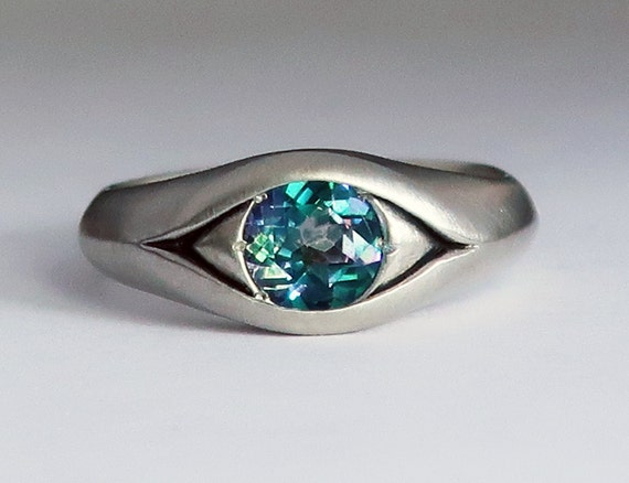 Large Sterling Silver and Rainbow Topaz Eye Ring, Size 7- Ready to Ship