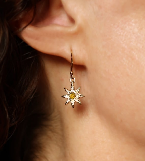 Gold and Yellow Rose Cut Diamond Celestial Earrings-Ready to Ship