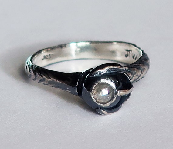 Sterling Silver and Grey Diamond Claw Ring