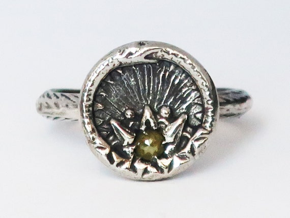 Sterling Silver and Diamond Ouroboros Snake, Antique Parisian Button Ring-size 7-Ready to Ship