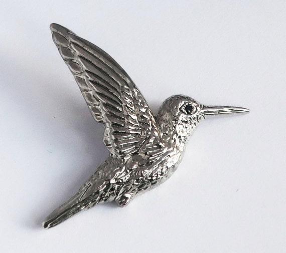 Sterling Silver & Black Diamond Hummingbird Pendant -READY TO SHIP