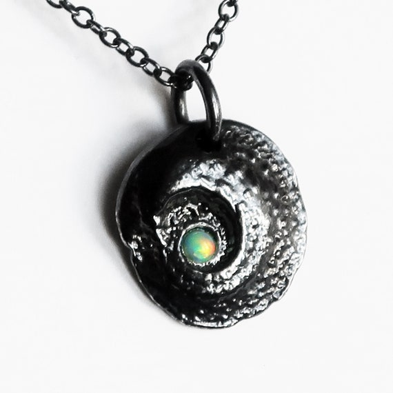 Blackened Sterling Silver and Opal Dragon's Eye Charm-Ready to Ship