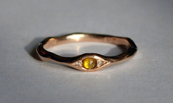 18k Brown Gold, Yellow Rose Cut Diamond & White Diamond Eye Ring_Ready to Ship