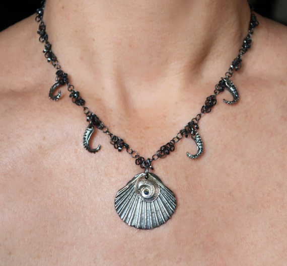 Blackened Sterling Silver & Opal Scallop Shell Charm Necklace-Ready to Ship