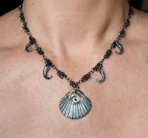 Wicked Mermaid Scallop Shell & Tentacle, Blackened Sterling Silver, Opal Charm Necklace-Ready to Ship