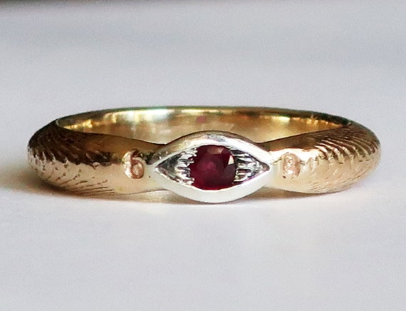 14 karat gold, Sterling Silver and Ruby Cuttlefish Cast Evil Eye Ring, Ready to Ship- US Size 6.75