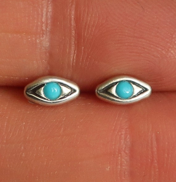 Sterling Silver with Turquoise Evil Eye Stud Earrings