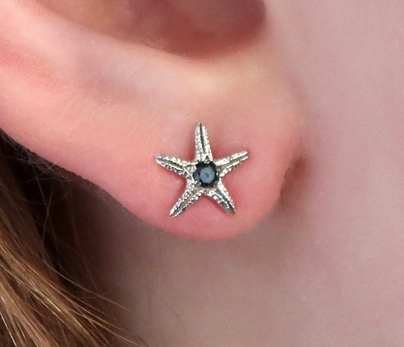 Sterling Silver & Black Diamond Tiny Starfish Earrings-Ready to Ship
