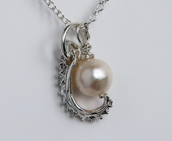 Sterling Silver & Vintage Cultured Pearl Tentacle Necklace-Ready to Ship