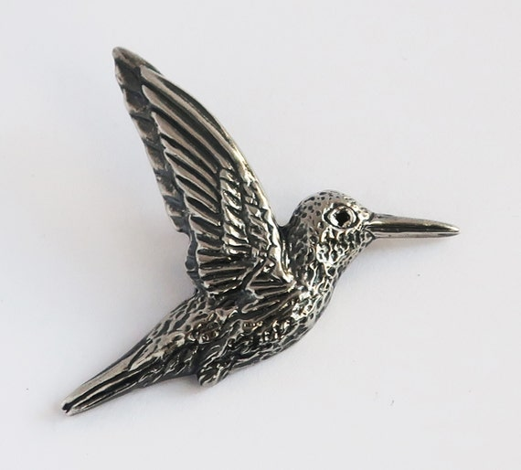 Oxidized Sterling Silver & Black Diamond Hummingbird Pendant -READY TO SHIP